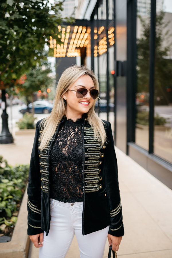 Chicago fashion blogger Bows & Sequins wearing Gucci aviators, a Blank NYC gold detailed velvet blazer, and a Zara lace top.