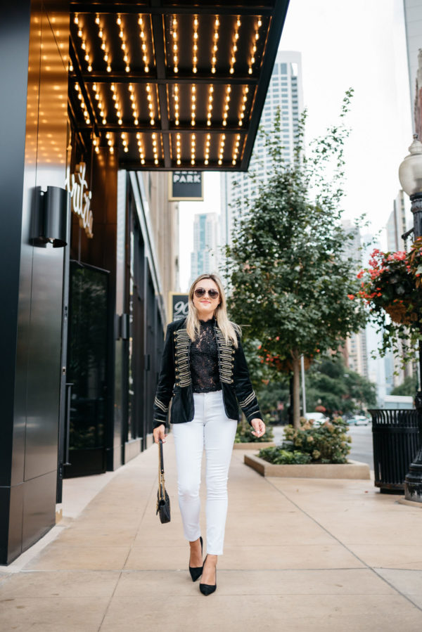 Chicago-based fashion blogger Bows & Sequins wearing Gucci aviators, a Blank NYC velvet blazer with gold details, Zara lace top, and Old Navy white denim with a David Yurman bracelet from Switch.