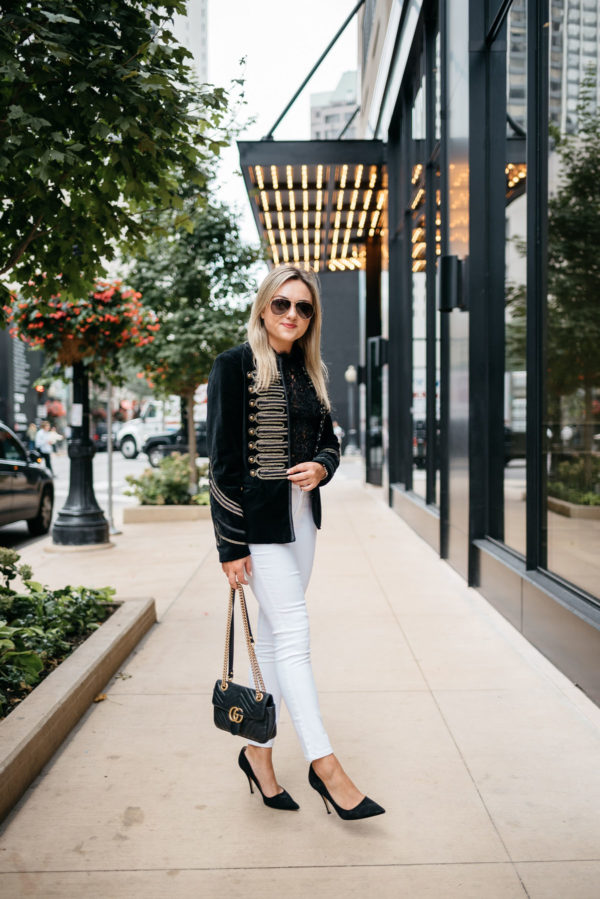 Bows & Sequins styling a velvet blazer with Old Navy white jeans, a Zara lace top, Kate Spade suede pumps, and a Gucci Marmont bag.