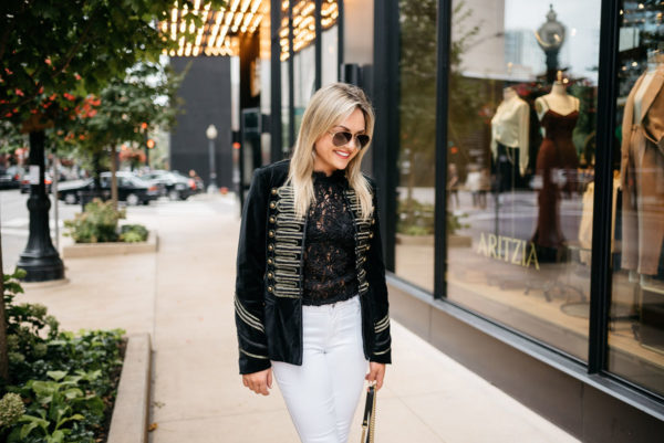 Chicago-based fashion and style blogger Bows & Sequins wearing a Blank NYC velvet blazer with gold details and a Zara lace top. She paired it with Gucci aviators and a David Yurman bracelet from Switch.