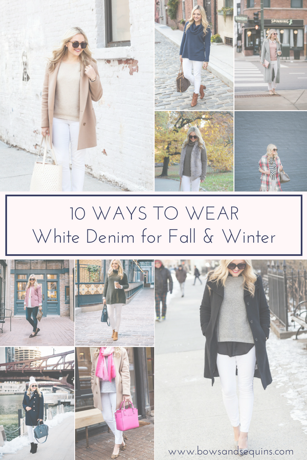 Bows & Sequins shares ten outfit ideas with white denim for fall and winter.
