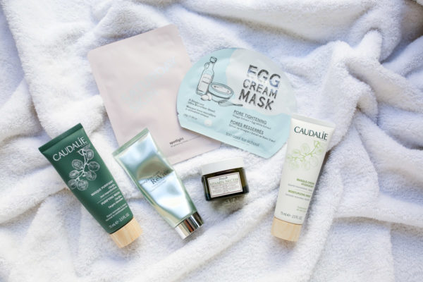Beauty Blogger Bows & Sequins shares her favorite face masks to use in the fall and winter: Caudalie Purifying Mask, Revive Clay Mask, Fresh Vitamin Nectar, Caudalie Moisture Mask, and a few sheet masks from Nordstrom