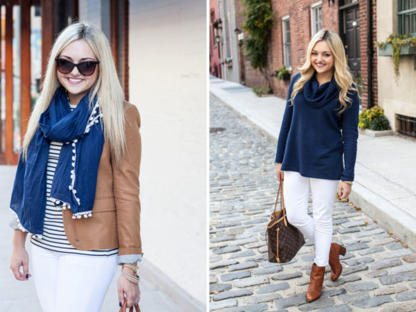 Bows & Sequins sharing two ways to wear navy and cognac outfits with white jeans for fall and winter.