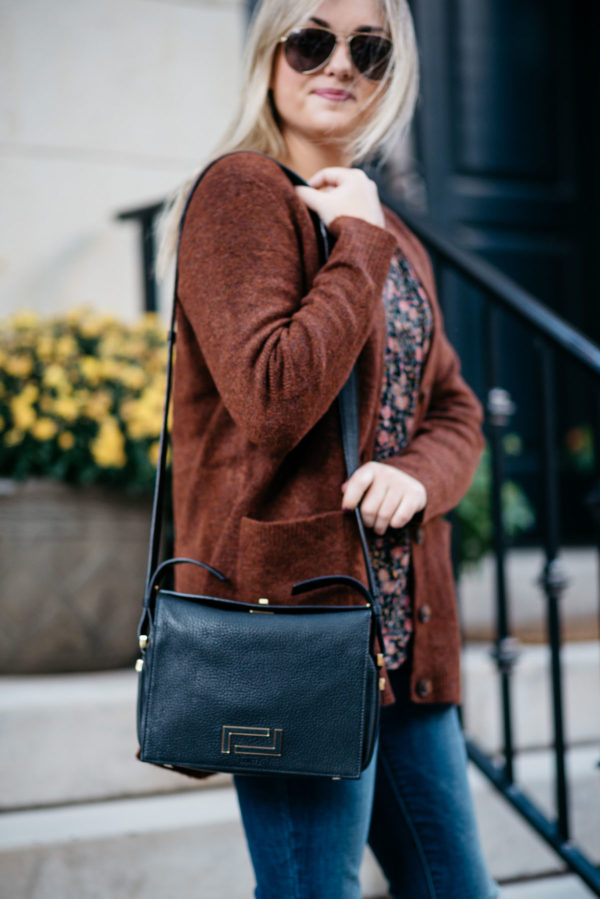 Chicago blogger Bows & Sequins wearing an Old Navy slouchy cardigan and a Lancel black Pia bag with Gucci aviators and NARS Audacious lipstick in 'Anna'.