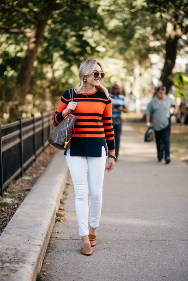 Chicago lifestyle blogger Bows & Sequins wearing Gucci aviators, a Sail to Sable striped sweater, a Gucci cuff, and Old Navy white jeans with a Louis Vuitton Neverfull tote and a Dune London leather loafers.