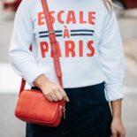 Sweatshirt, Suede Skirt, & Sneakers