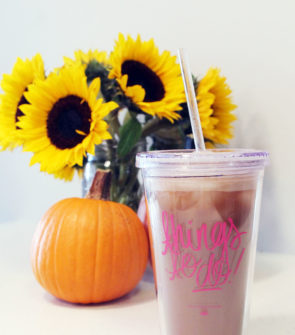 Ashley Brooke Designs Things to Do Clear Tumbler Travel Mug with a pumpkin and sunflowers fall decor.