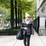 Black Puffer Jacket + Glitter Sneakers