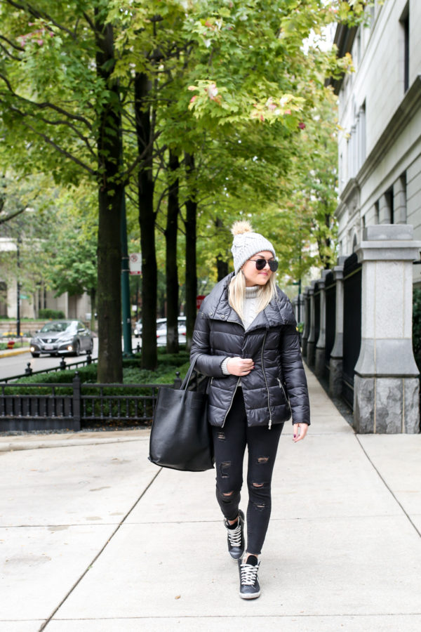 Jessica Sturdy wearing a Barbour quilted jacket with a cable knit sweater f4ce04ba3d34