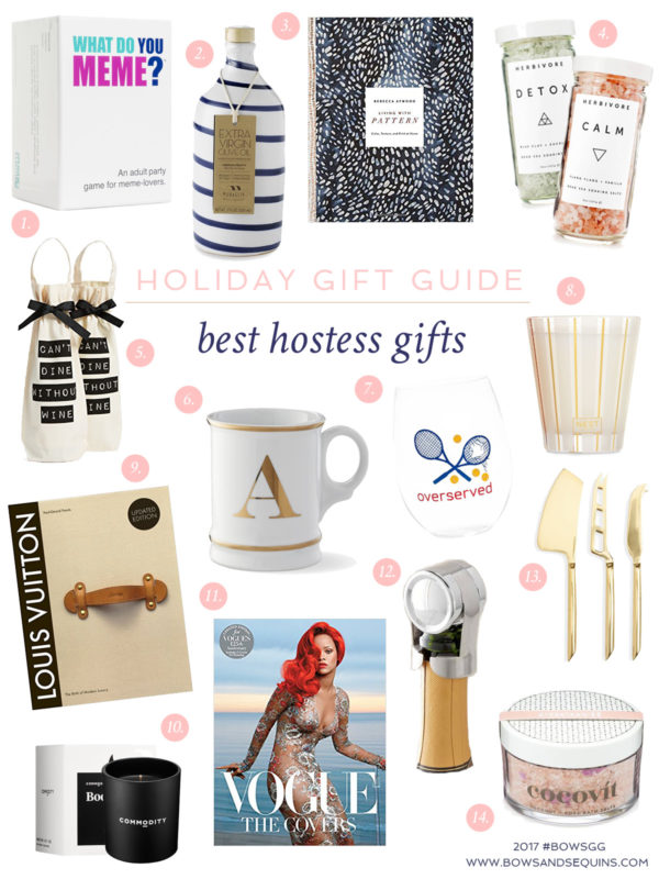 Jessica Sturdy shares her favorite hostess gifts to give and get this holiday season on Bows & Sequins. You can't go wrong with candles, coffee table books, nice olive oil, bath salts, wine, or a fun group game.