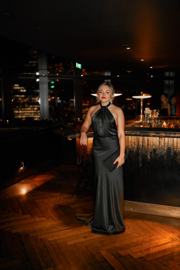 Fashion blogger Jessica Sturdy in Kate Halfpenny The Black Edit at City Social in London