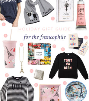 Blogger Bows & Sequins shares her 5th gift guide for the holiday season... The very best gifts to give the Francophile in your life. If she dreams of going to Paris thinks she's part French, she'll love these Parisian-themed gifts.