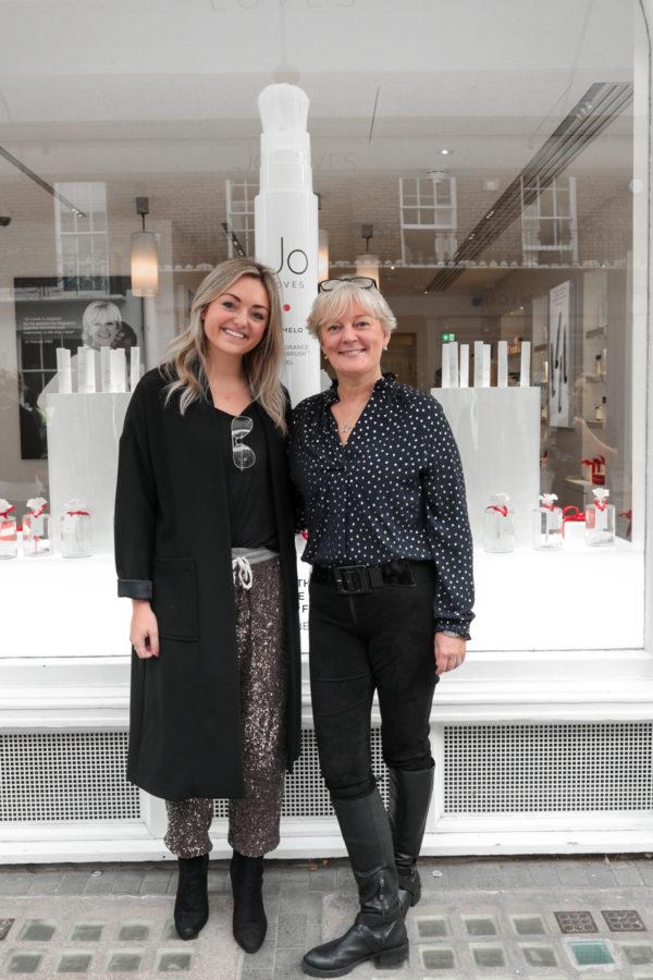 Fashion blogger Jessica Sturdy with Jo Malone at Jo Loves on Elizabeth Street in London