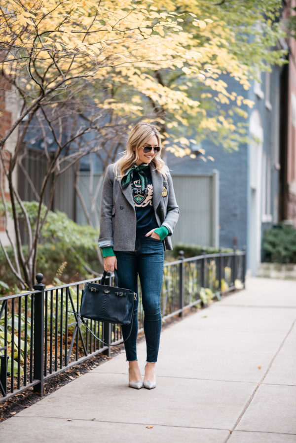 Jessica Rose Sturdy wearing Gucci aviators, a MDN silk neck scarf, MDN grey blazer, Rag & Bone raw hem skinny jeans, and Michael Kors textured pumps with a navy Kate Spade tote.