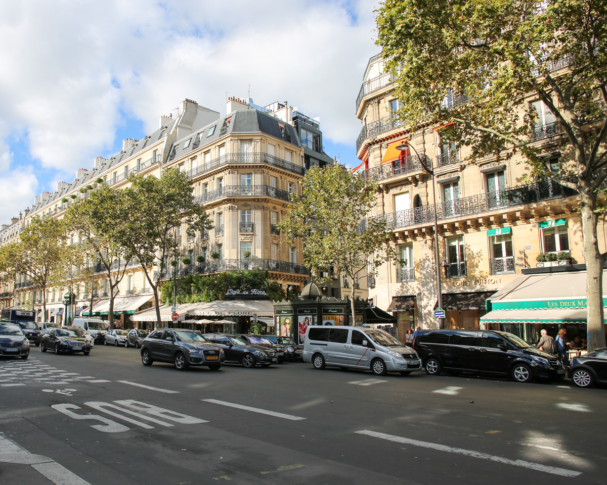 Saint Germain neighborhood in Paris Cafe de Flore Les Deux Magots