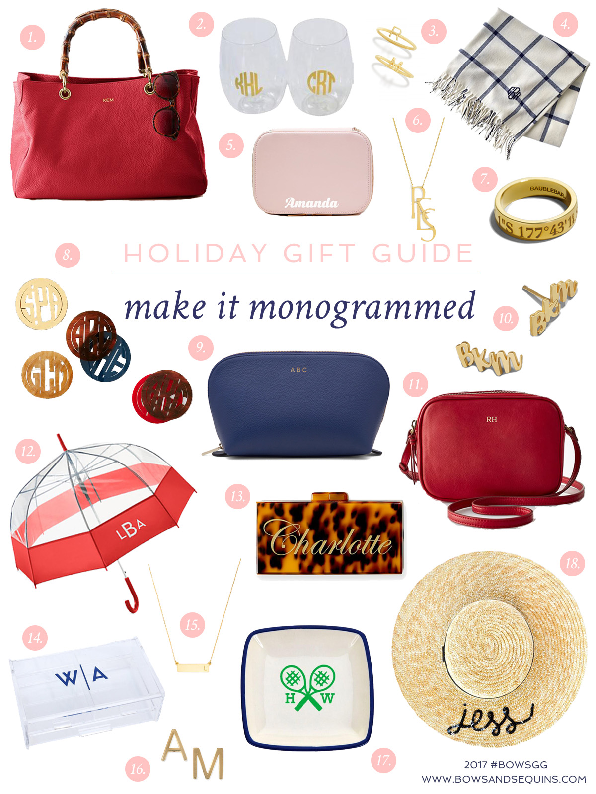 Holiday Gift Guide Best Monogrammed Gifts Bows Sequins