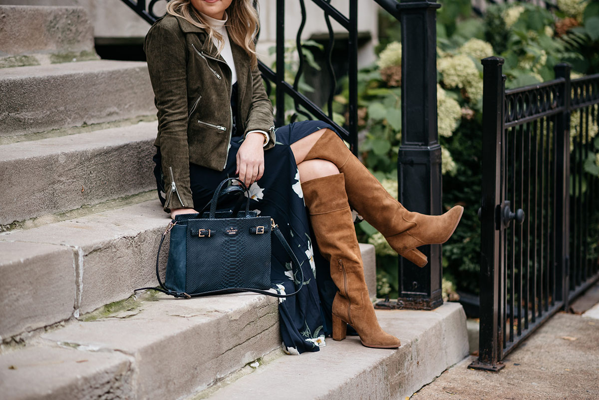 Chicago fashion blogger Jessica Sturdy styling a maxi dress with cognac suede over the knee boots.