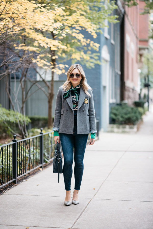 Bows & Sequins writer Jessica Rose Sturdy wearing Gucci aviators, a MDN silk neck scarf, MDN grey blazer, Rag & Bone raw hem skinny jeans, and Michael Kors textured pumps with a navy Kate Spade tote.