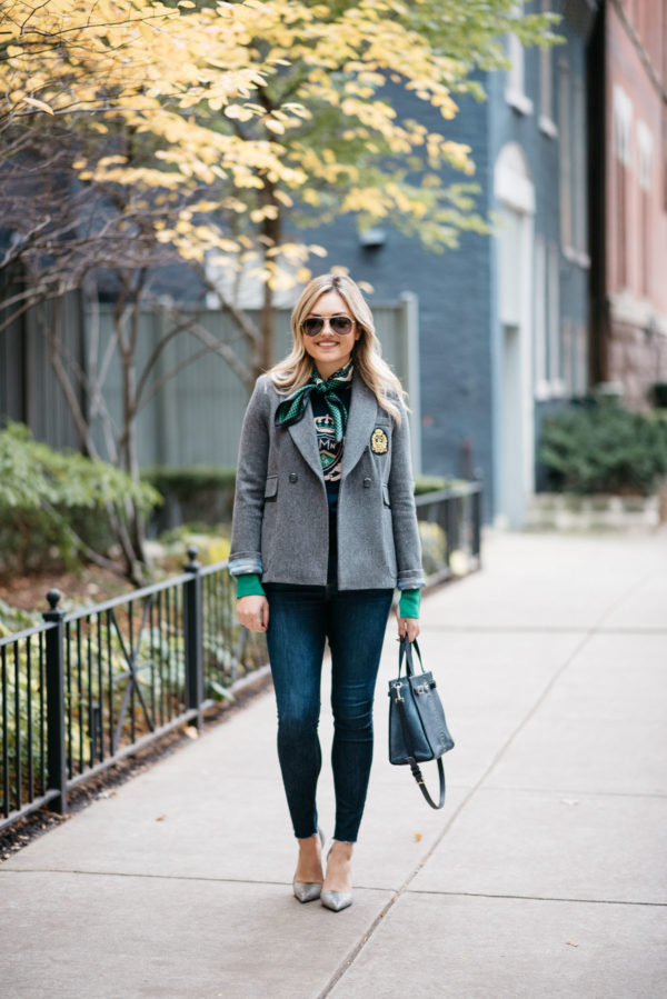 Chicago lifestyle blogger Jessica Rose Sturdy wearing Gucci aviators, a MDN silk neck scarf, MDN grey blazer, Rag & Bone raw hem skinny jeans, and Michael Kors textured pumps with a navy Kate Spade tote.