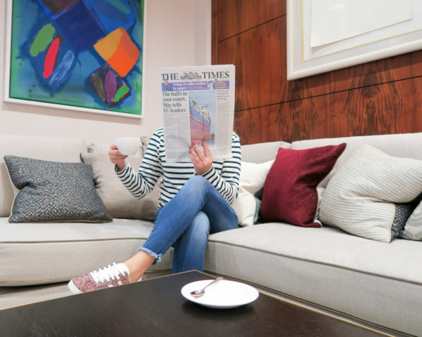 Fashion blogger Jessica Sturdy at Heathrow VIP luxury airport lounge in London