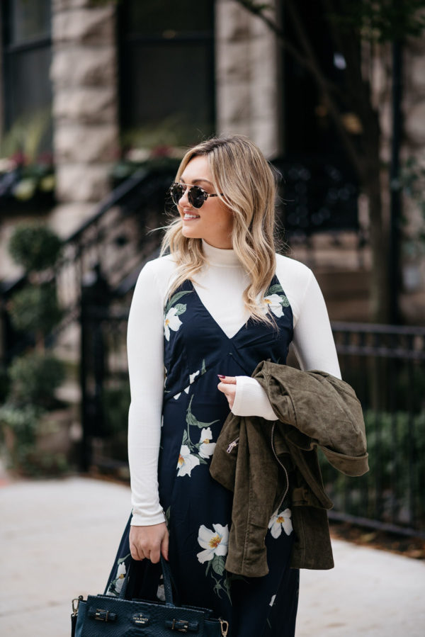 Chicago fashion blogger Jessica Sturdy styling a navy foral dress with a ribbed turtleneck layered underneath.