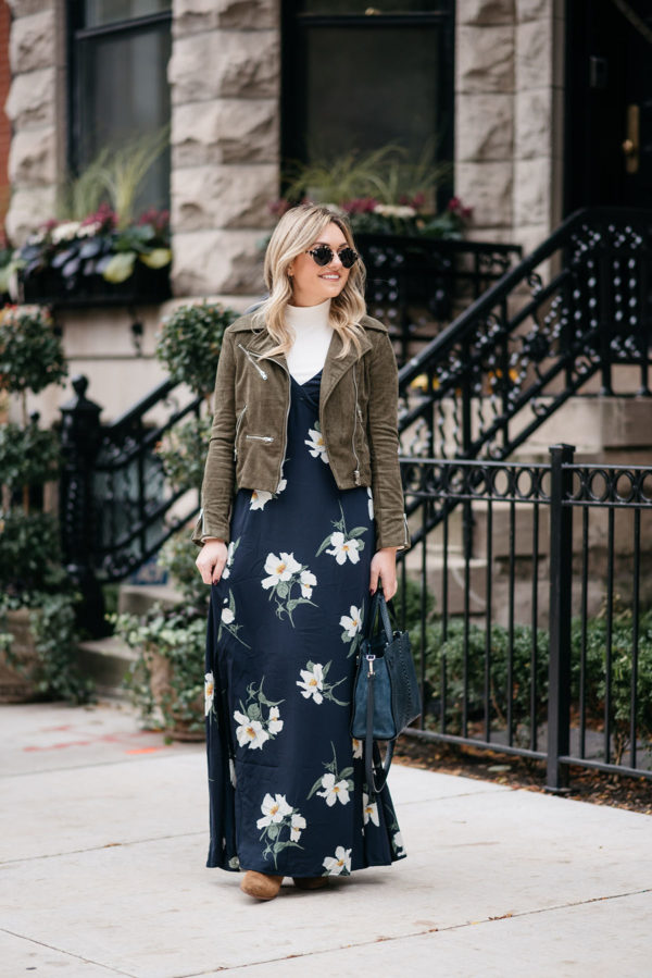 Chicago fashion blogger Jessica Sturdy wearing a navy blue floral dress with an olive green suede moto jacket.