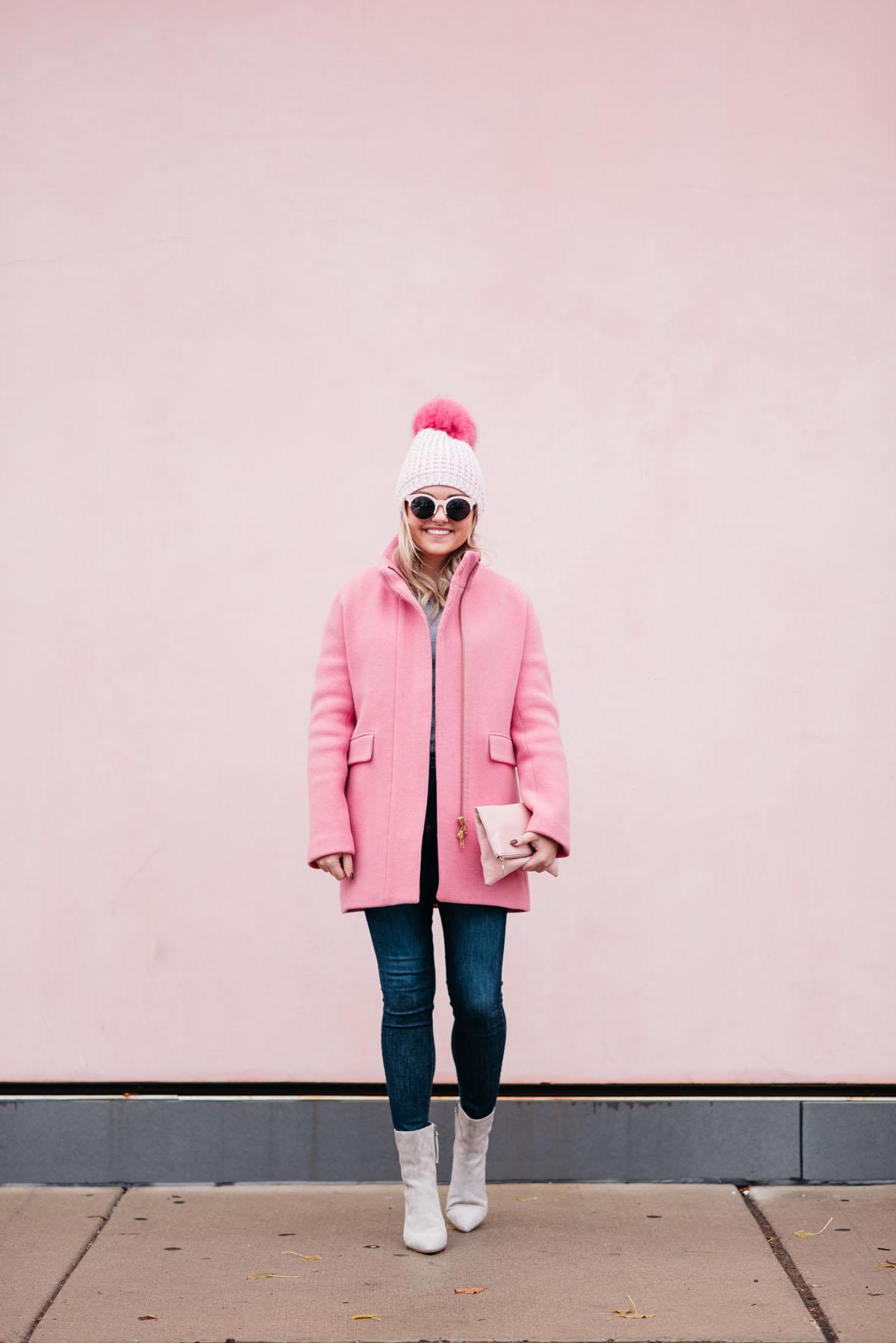 ba384c9293013 jcrew-pink-coat-skinny-jeans-suede-booties — bows   sequins