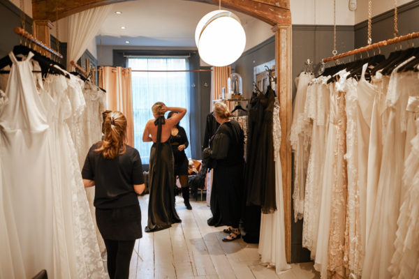 Fashion blogger Jessica Sturdy at a fitting at Kate Halfpenny in London
