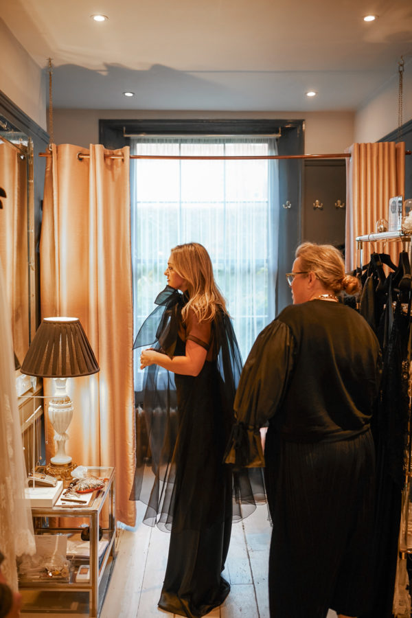 Fashion blogger Jessica Sturdy at a fitting at Kate Halfpenny Atelier in London
