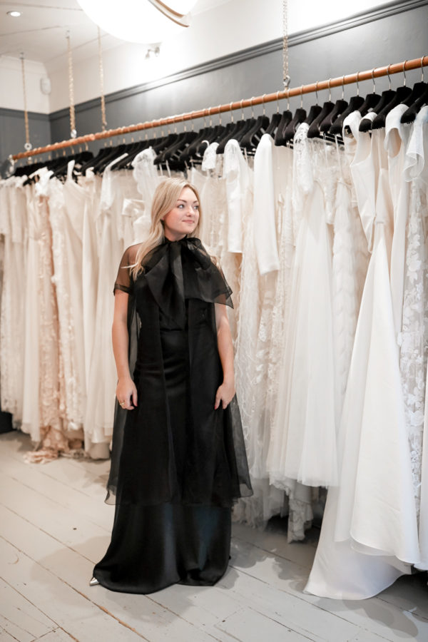 Blogger Jessica Sturdy at a fitting at Kate Halfpenny in London