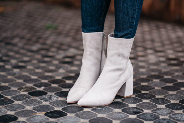 Jessica Rose Sturdy wearing Linea Paolo suede ankle booties from Nordstrom.