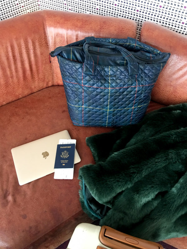 Travel blogger Bows & Sequins at JFK in NYC at the Virgin Atlantic Clubhouse Luxury Lounge