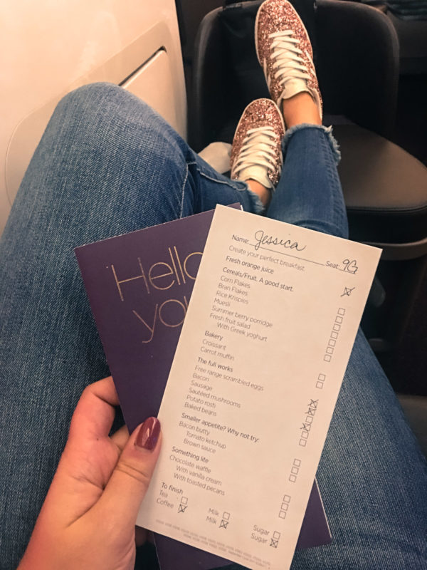 Travel blogger Bows & Sequins flies Virgin Atlantic Upper Class cabin from JFK to LHR