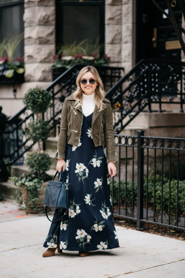 Chicago fashion blogger Jessica Sturdy of Bows & Sequins wearing a navy blue floral dress with an olive green suede moto jacket.