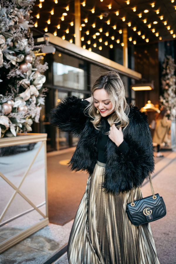 Winter Party Outfit Black Fur Coat Gold Skirt Bows