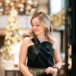 Black Bow Top + Pleated Gold Skirt
