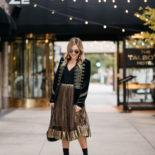 Velvet Blazer & Gold Midi Skirt