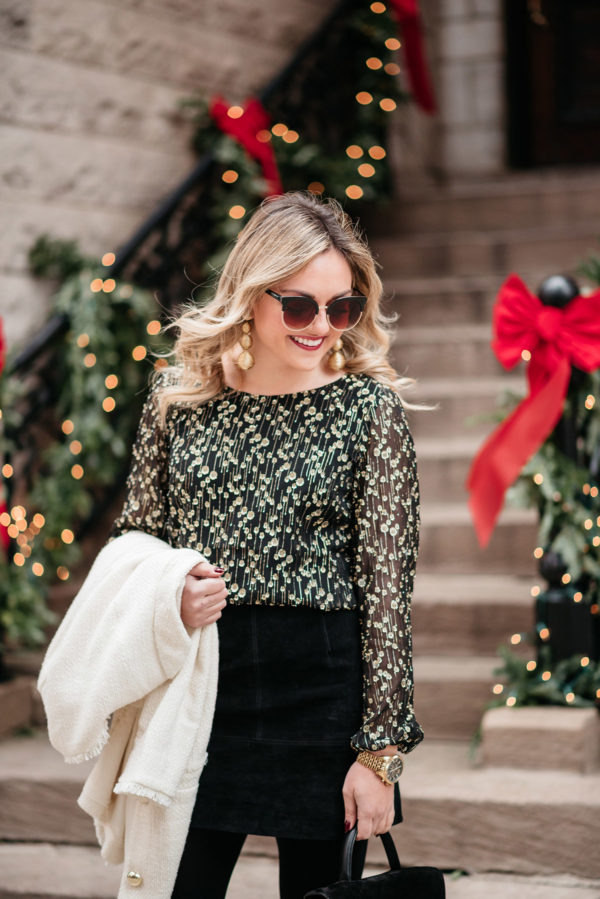 Jessica Sturdy styling a black and gold outfit for the holiday season.
