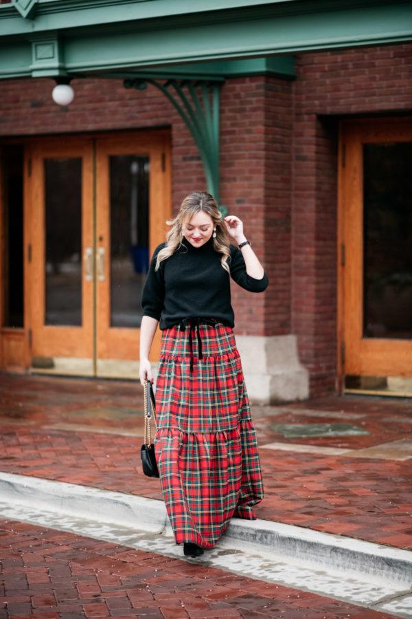 Jessica Sturdy wearing a J.Crew tartan plaid maxi skirt.