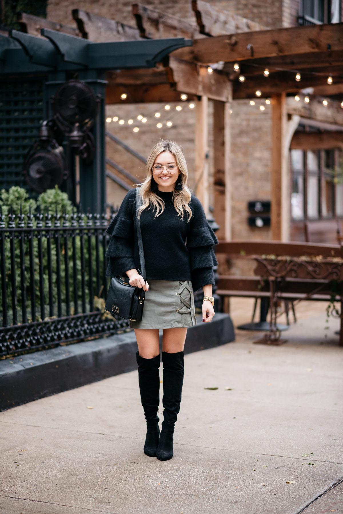 5368cc0b742 Fashion and lifestyle blogger Jessica Sturdy wearing an Endless Rose black  ruffle sleeve sweater