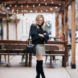 Ruffled Sleeve Sweater + Suede Skirt
