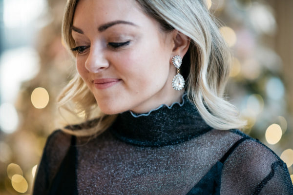 Fashion and lifestyle blogger Jessica Sturdy wearing a Free People sparkle turtleneck bodysuit with Loren Hope earrings.