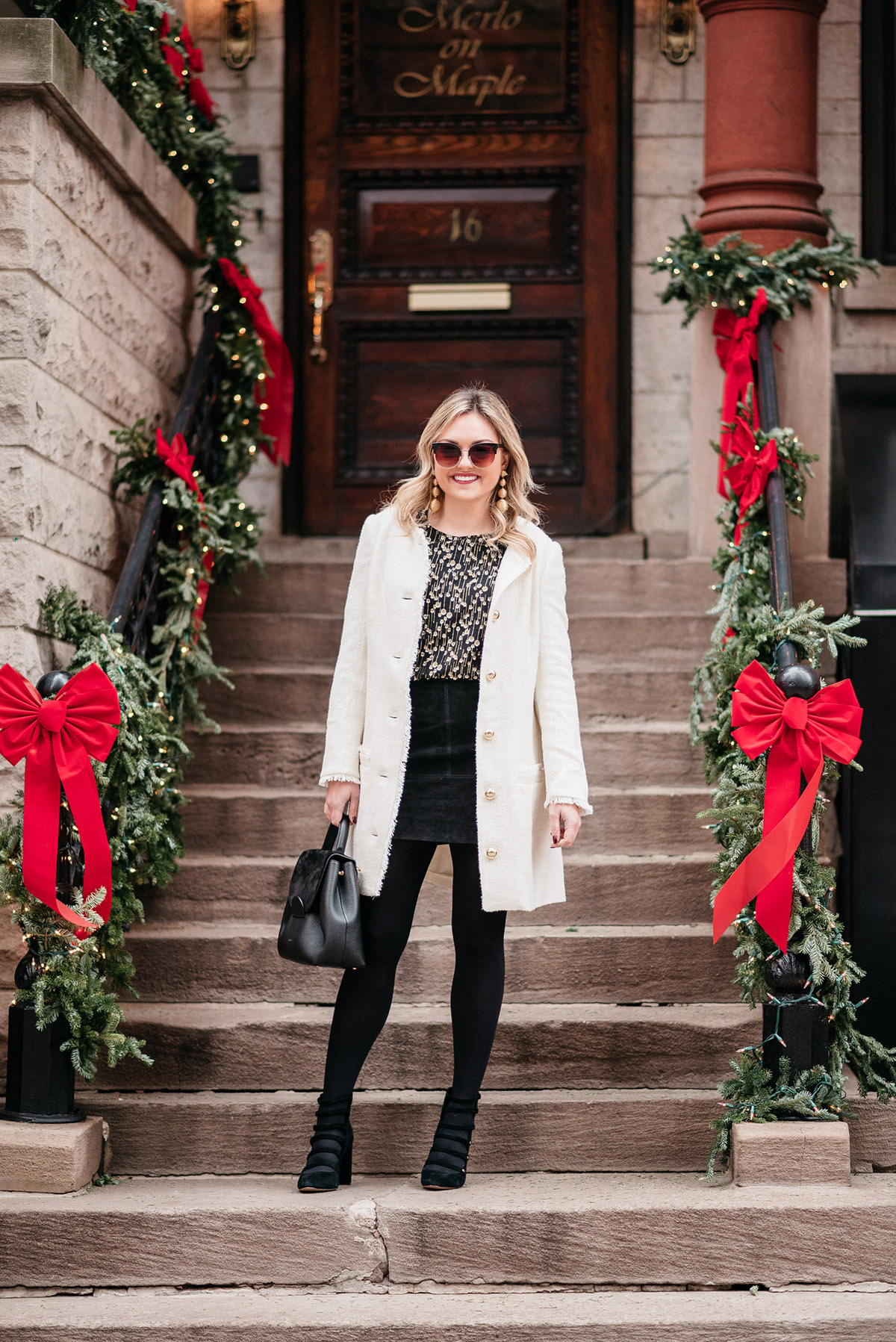 White Coat Winter Outfit Bows Sequins