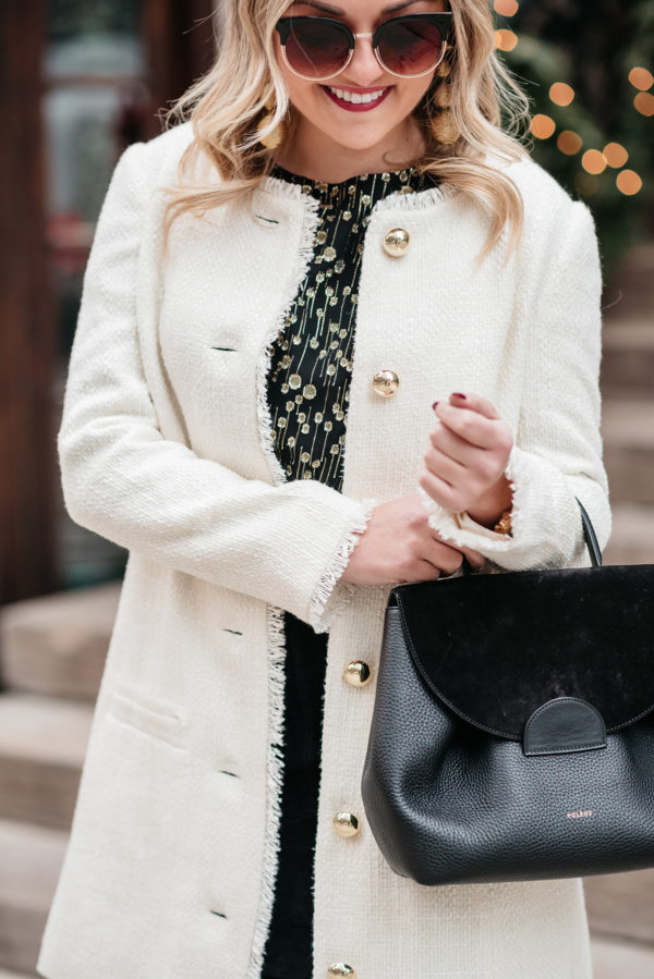 Bows & Sequins wearing a winter white tweed coat from Sail to Sable.