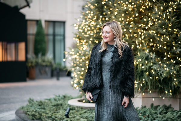 Jessica Sturdy wearing a black faux fur coat.
