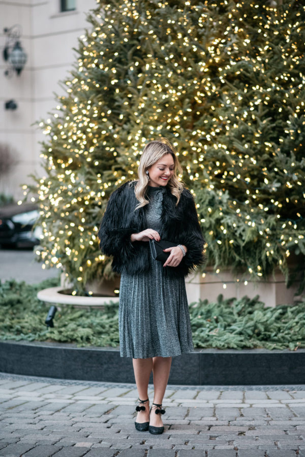 Jessica Sturdy wearing a silver Kate Spade dress.