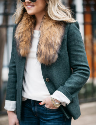 Jessica Sturdy wearing Illesteva tortoise sunglasses, a fur collar from Paris, white Old Navy ribbed tee, and a green J.Crew blazer with a Michael Kors watch.