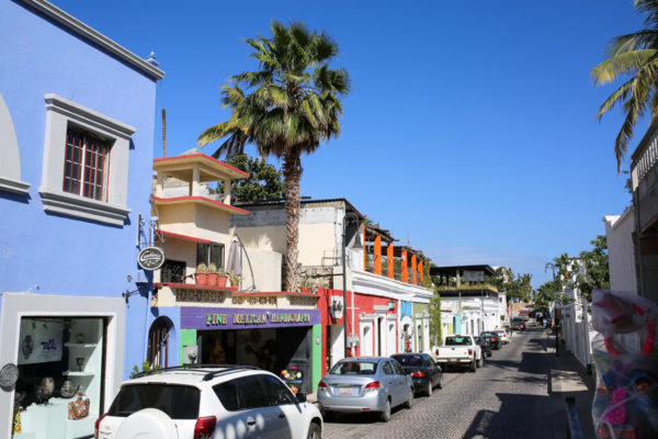 Jessica Sturdy shares photos from exploring San Jose del Cabo in Mexico. Bright buildings all in a row