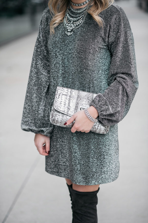 Jessica Sturdy styling a silver dress with a statement necklace.