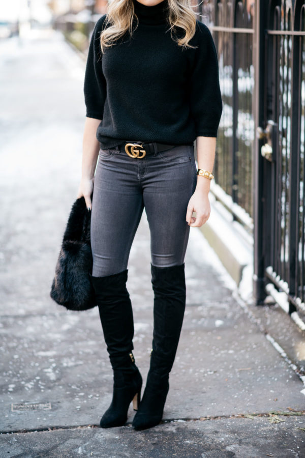 91f484a940d Chicago lifestyle blogger Jessica Rose Sturdy wearing black suede over the  knee boots